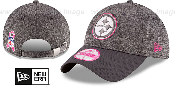 Steelers 'WOMENS 2016 BCA STRAPBACK' Grey-Grey Hat by New Era : pictured without stickers that these products are shipped with