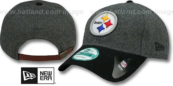 Steelers 'WOOLEN CROWN' Grey-Black Hat by New Era : pictured without stickers that these products are shipped with
