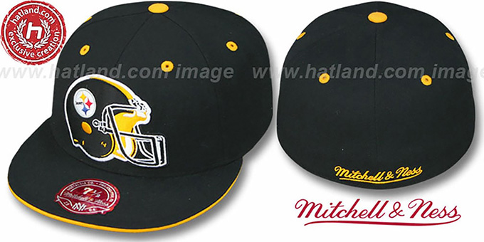 Steelers 'XL-HELMET' Black Fitted Hat by Mitchell & Ness : pictured without stickers that these products are shipped with