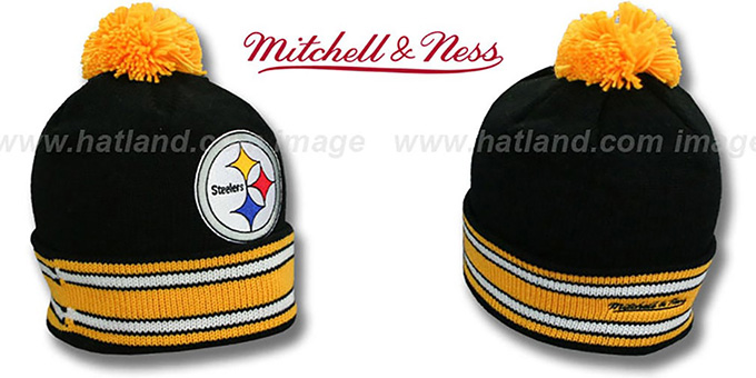 Steelers 'XL-LOGO BEANIE' Black by Mitchell and Ness : pictured without stickers that these products are shipped with