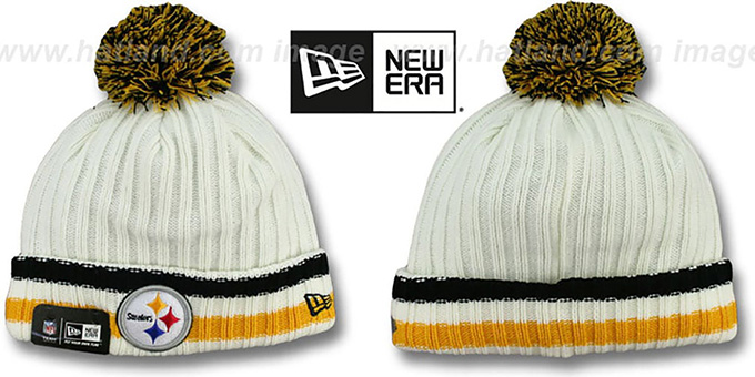 Steelers 'YESTER-YEAR' Knit Beanie Hat by New Era : pictured without stickers that these products are shipped with