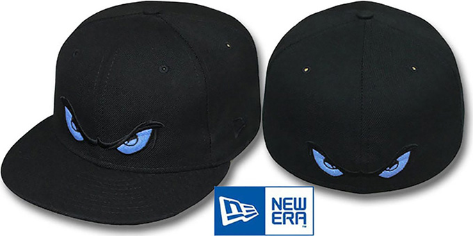 Storm 'LIGHT BLUE EYES' Black Fitted Hat by New Era : pictured without stickers that these products are shipped with