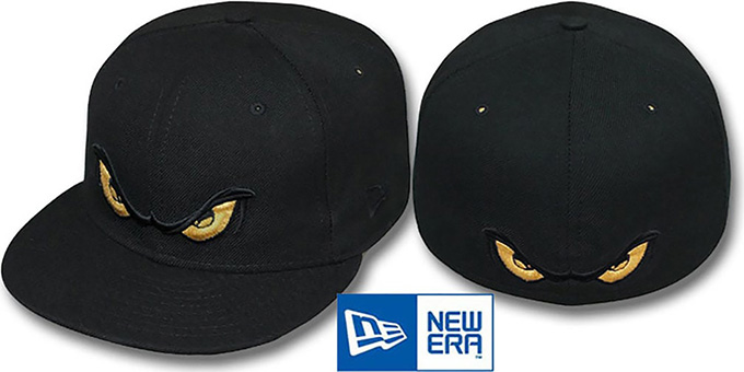 Storm 'METALLIC GOLD EYES' Black Fitted Hat by New Era : pictured without stickers that these products are shipped with