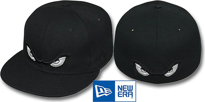 Storm 'METALLIC SILVER EYES' Black Fitted Hat by New Era : pictured without stickers that these products are shipped with