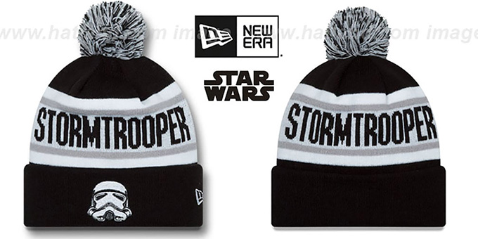 Storm Trooper 'BIGGEST FAN' Black-White Knit Beanie Hat by New Era : pictured without stickers that these products are shipped with