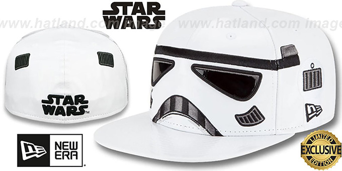 Storm Trooper 'CHARACTER FACE' Fitted Hat by New Era : pictured without stickers that these products are shipped with