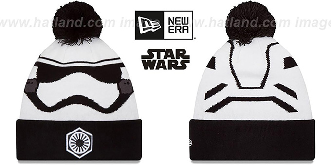 Storm Trooper 'GALLACTIC BIGGIE - 2' White-Black Knit Beanie Hat by New Era : pictured without stickers that these products are shipped with