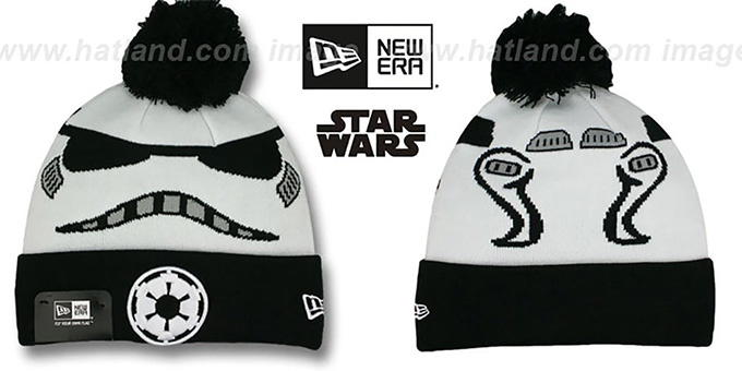 Storm Trooper 'GALLACTIC BIGGIE' White-Black Knit Beanie Hat by New Era : pictured without stickers that these products are shipped with