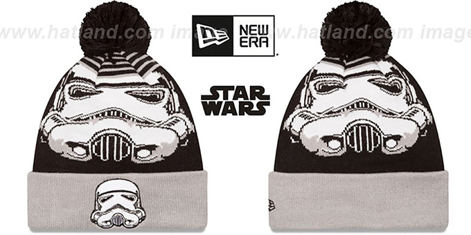 Storm Trooper 'LOGO WHIZ' Black-Grey Knit Beanie Hat by New Era : pictured without stickers that these products are shipped with