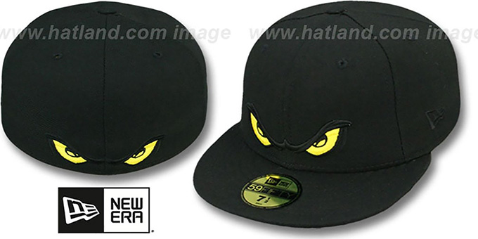 Storm 'YELLOW EYES' Black Fitted Hat by New Era : pictured without stickers that these products are shipped with