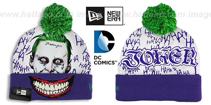 Suicide Squad 'JOKER' Purple-White Knit Beanie Hat by New Era : pictured without stickers that these products are shipped with