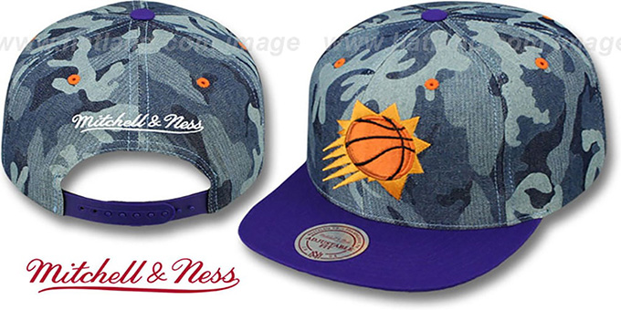 Suns 'DENIM-CAMO SNAPBACK' Blue Hat by Mitchell and Ness : pictured without stickers that these products are shipped with
