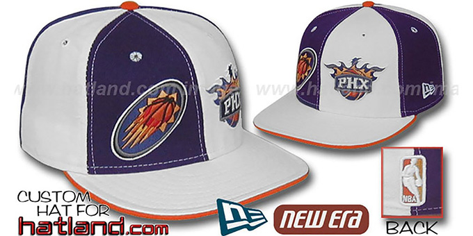 Suns 'DOUBLE WHAMMY' Purple-White Fitted Hat : pictured without stickers that these products are shipped with