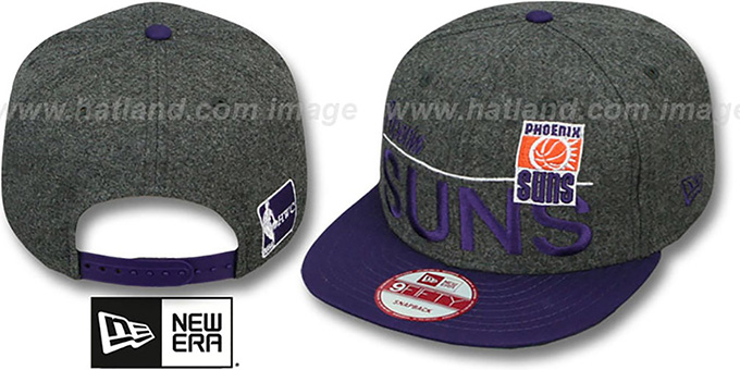Suns 'FLANNEL SNAPBACK' Grey-Purple Hat by New Era : pictured without stickers that these products are shipped with