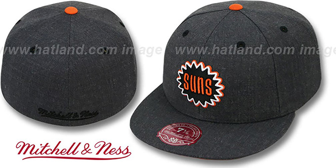 Suns 'GREY HEDGEHOG' Fitted Hat by Mitchell & Ness : pictured without stickers that these products are shipped with