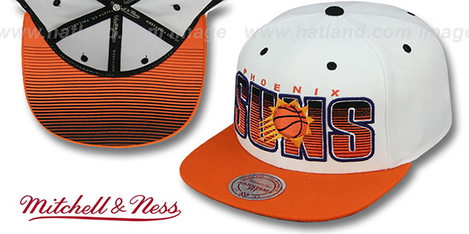 Suns 'HOMESTAND SNAPBACK' White-Orange Hat by Mitchell & Ness : pictured without stickers that these products are shipped with
