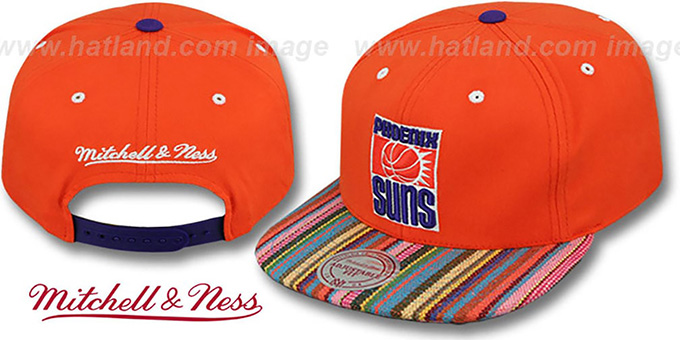 Suns 'NATIVE-STRIPE SNAPBACK' Orange Hat by Mitchell & Ness : pictured without stickers that these products are shipped with