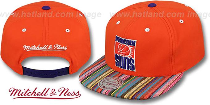 9cf316bce70 Suns  NATIVE-STRIPE SNAPBACK  Orange Hat by Mitchell   Ness