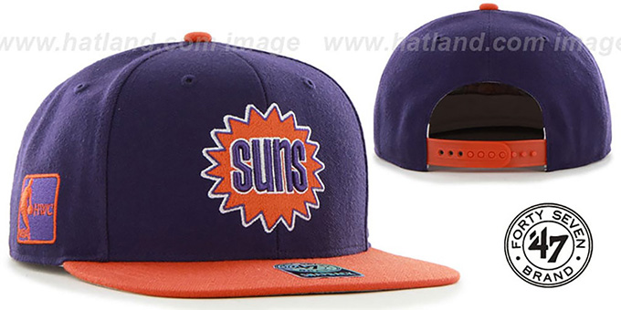 Suns 'SURE-SHOT SNAPBACK' Purple-Orange Hat by Twins 47 Brand : pictured without stickers that these products are shipped with