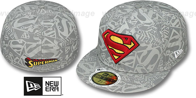 Superman 'COMIC REFLECT' Fitted Hat by New Era : pictured without stickers that these products are shipped with