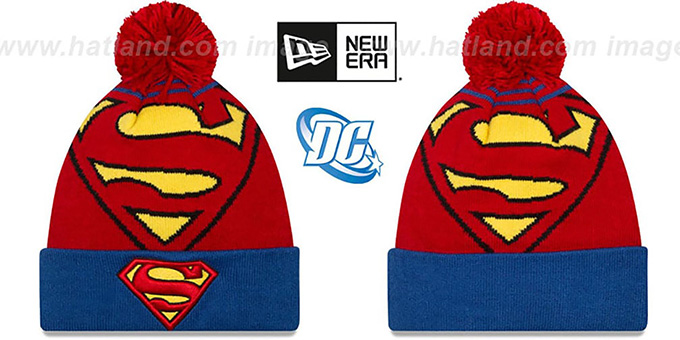 Superman 'LOGO WHIZ' Red-Royal Knit Beanie Hat by New Era : pictured without stickers that these products are shipped with