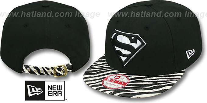 Superman 'OSTRICH-ZEBRA STRAPBACK' Hat by New Era : pictured without stickers that these products are shipped with