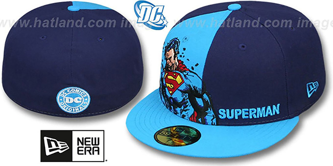 Superman 'PANEL-POP' Blue-Navy Fitted Hat by New Era : pictured without stickers that these products are shipped with