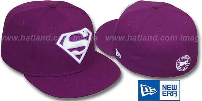 Superman 'SHIELD' Purple-White Fitted Hat by New Era
