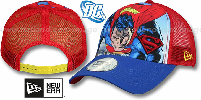Superman 'SPLASH FRONT TRUCKER' Adjustable Hat by New Era : pictured without stickers that these products are shipped with