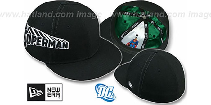 Superman 'TITLE TAG' Black Fitted Hat by New Era : pictured without stickers that these products are shipped with