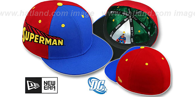 Superman 'TITLE TAG' Royal-Red Fitted Hat by New Era : pictured without stickers that these products are shipped with