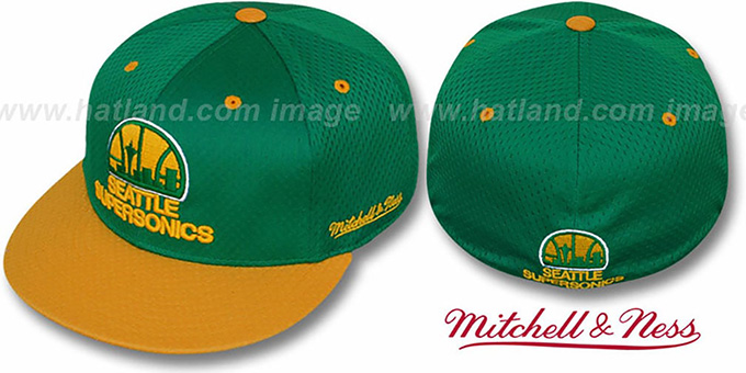 Supersonics '2T BP-MESH' Green-Gold Fitted Hat by Mitchell & Ness : pictured without stickers that these products are shipped with