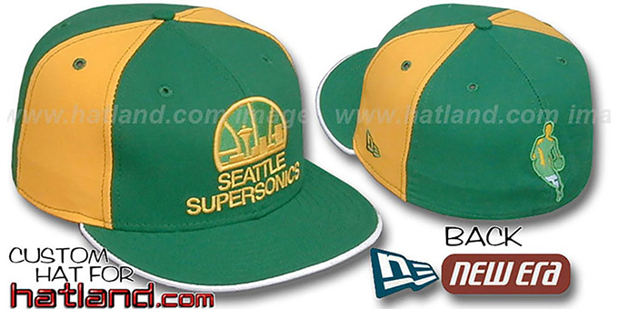 Supersonics 'BACK INSIDER PINWHEEL' Green-Gold Fitted Hat : pictured without stickers that these products are shipped with