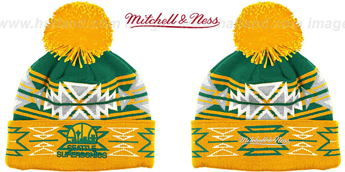 Supersonics HWC 'GEOTECH' Knit Beanie by Mitchell and Ness : pictured without stickers that these products are shipped with