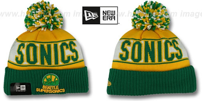 Supersonics HWC 'REP-UR-TEAM' Knit Beanie Hat by New Era : pictured without stickers that these products are shipped with