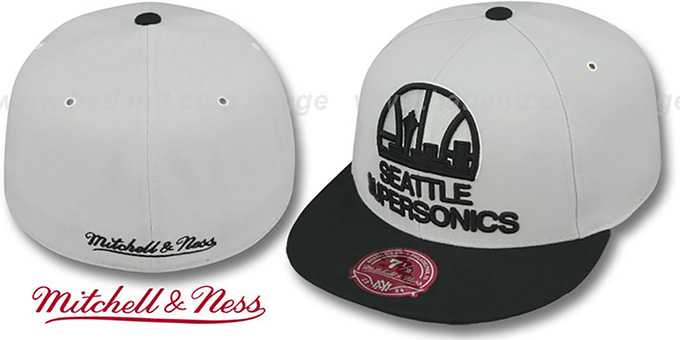 Supersonics 'MONOCHROME XL-LOGO' Grey-Black Fitted Hat by Mitchell & Ness : pictured without stickers that these products are shipped with