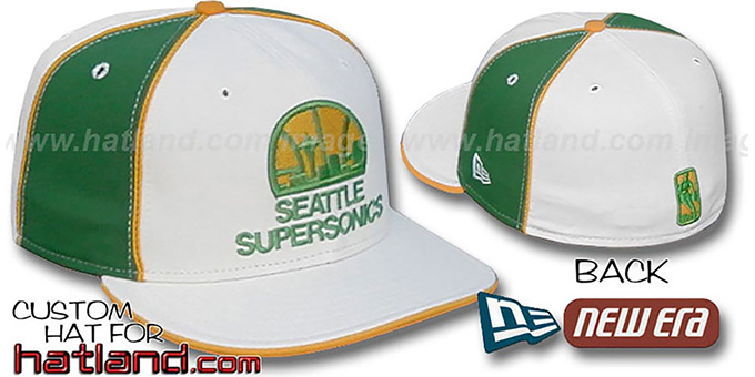 Supersonics 'OLD SCHOOL PINWHEEL-2' White-Green Fitted Hat : pictured without stickers that these products are shipped with