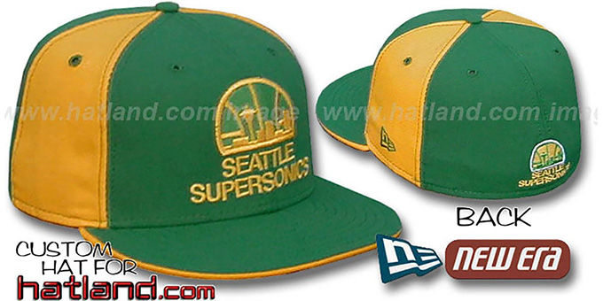 Supersonics 'OLD SCHOOL PINWHEEL' Green-Gold Fitted Hat : pictured without stickers that these products are shipped with