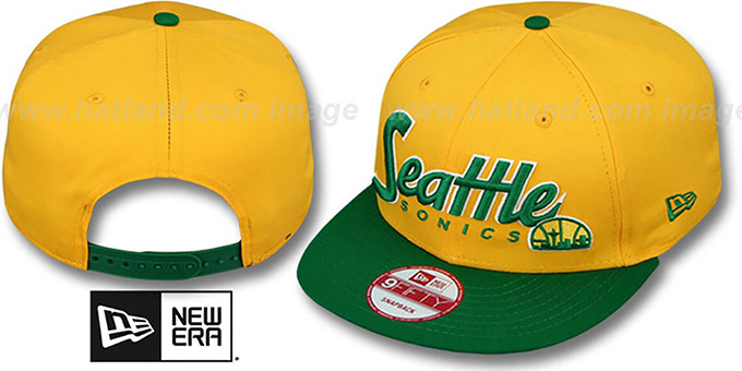 Supersonics 'SNAP-IT-BACK SNAPBACK' Gold-Green Hat by New Era : pictured without stickers that these products are shipped with