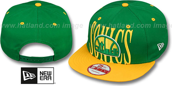 Supersonics 'STEP-ABOVE SNAPBACK' Green-Gold Hat by New Era : pictured without stickers that these products are shipped with