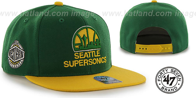 Supersonics 'SURE-SHOT SNAPBACK' Green-Gold Hat by Twins 47 Brand : pictured without stickers that these products are shipped with