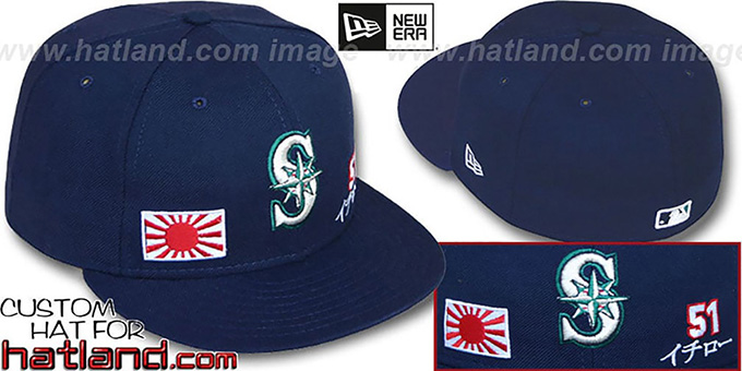 Suzuki 'TRIPLE THREAT' Navy Fitted Hat by New Era : pictured without stickers that these products are shipped with