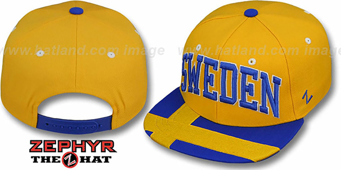 Sweden 'SUPERSTAR SNAPBACK' Gold Hat by Zephyr : pictured without stickers that these products are shipped with