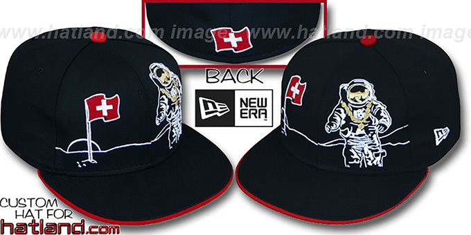 Switzerland 'MOONMAN' Black Fitted Hat by New Era : pictured without stickers that these products are shipped with