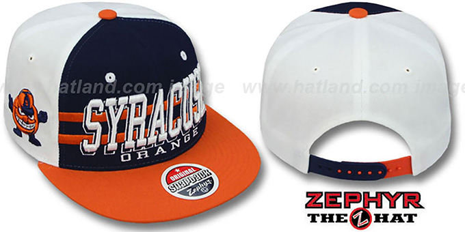Syracuse '2T SUPERSONIC SNAPBACK' Navy-Orange Hat by Zephyr : pictured without stickers that these products are shipped with