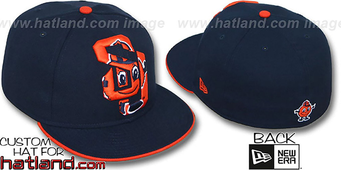 Syracuse 'INSIDER BIG-ONE' Navy Fitted Hat by New Era : pictured without stickers that these products are shipped with