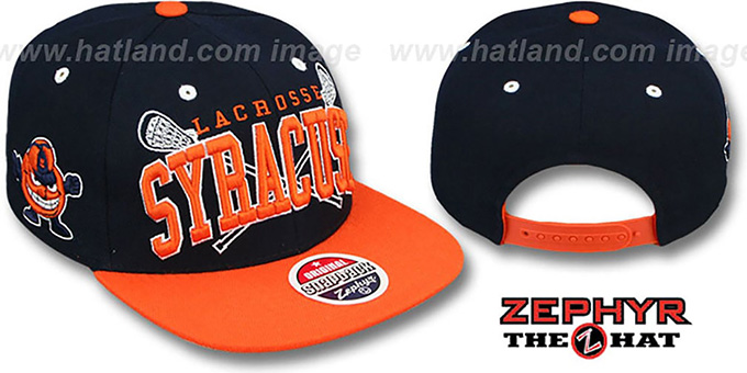 Syracuse 'LACROSSE SUPER-ARCH SNAPBACK' Navy-Orange Hat by Zephyr : pictured without stickers that these products are shipped with