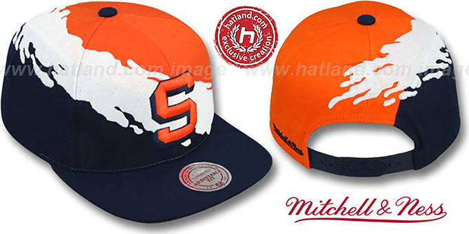 Syracuse 'PAINTBRUSH SNAPBACK' Orange-White-Navy Hat by Mitchell & Ness : pictured without stickers that these products are shipped with