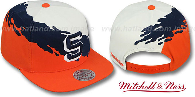 Syracuse 'PAINTBRUSH SNAPBACK' White-Navy-Orange Hat by Mitchell & Ness : pictured without stickers that these products are shipped with