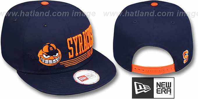 Syracuse 'RETRO-SNAPBACK' Navy Hat by New Era : pictured without stickers that these products are shipped with